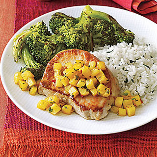 Sautéed Pork Chops with Pineapple and Mint.