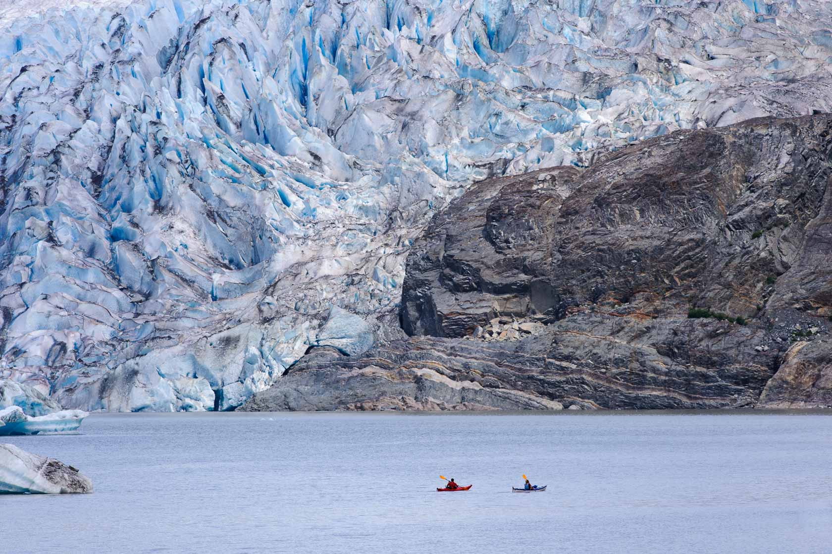 Kayakers near the Mendenhall Glacier, Juneau, Alaska