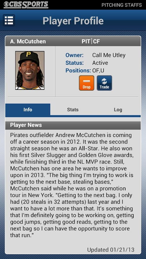 CBS Sports Fantasy Baseball - screenshot