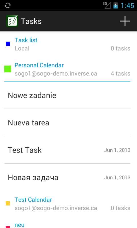 Tasks - screenshot