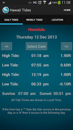 Hawaii Tide Times