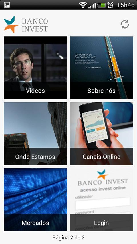 Banco Invest– captura de ecrã