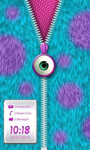 Monster Fur Zipper Lock Screen