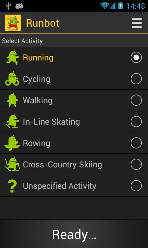 Runbot Sports Tracker - screenshot