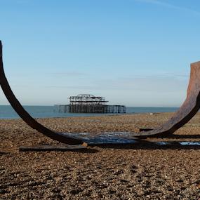 by Iain Weatherley - Landscapes Beaches ( destruction, sea, pier, pebbles, beach, deserted,  )