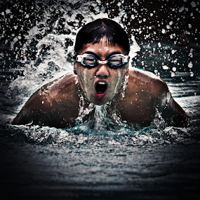 Coming up for air by Wah Yuen Lau - Sports & Fitness Swimming ( swim, swimming,  )