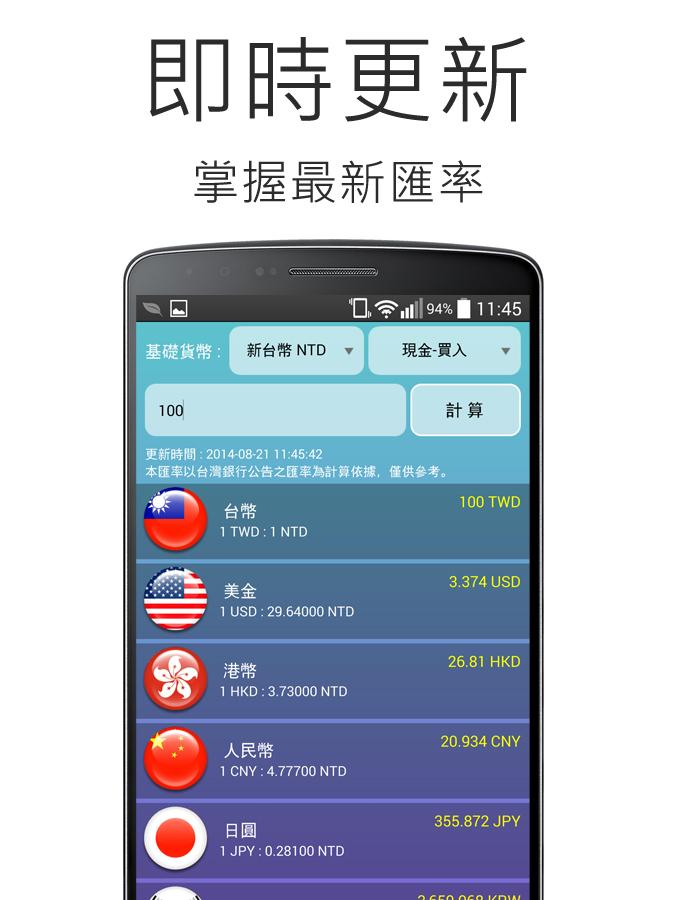 匯率計算機 - screenshot