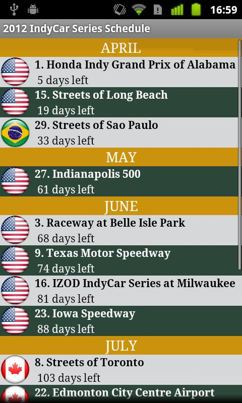 2017 IndyCar Series Schedule- screenshot