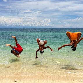 Summer Showdown by Dickson   Shia - Babies & Children Children Candids ( backflip, kids playing in summer, boys, swim, summer, beach,  )