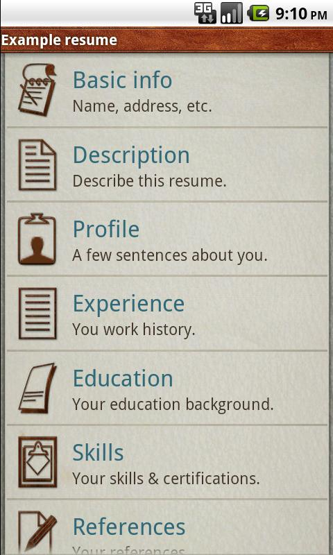 Pocket Resume - screenshot
