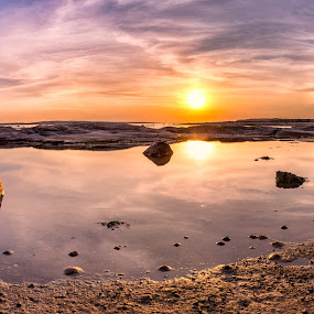 Panorama by Bent Velling - Landscapes Sunsets & Sunrises ( clouds, water, hvaler, stitched, sigma 30mm f2.8, panorama, norway, photoshop cc, sky, sony nex-7, sunset, asmaløy, rocks )