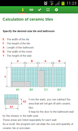 Calculation of ceramic tiles