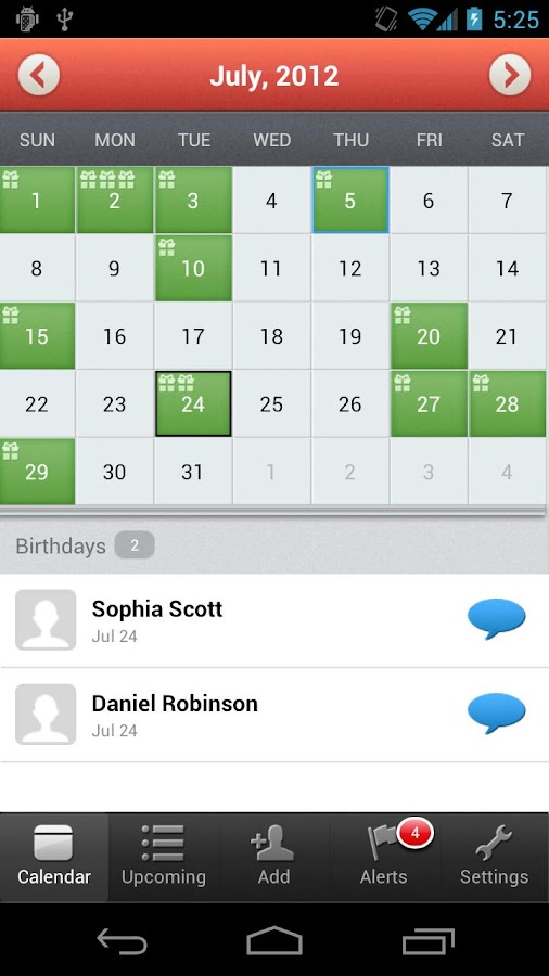 Screenshots of MyCalendar for iPhone
