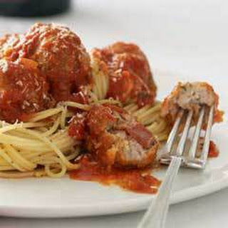 Stuffed Meatballs With Spaghetti.