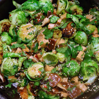 Sweet and Spicy Brussels Sprouts with Tofu and Shiitake Mushrooms