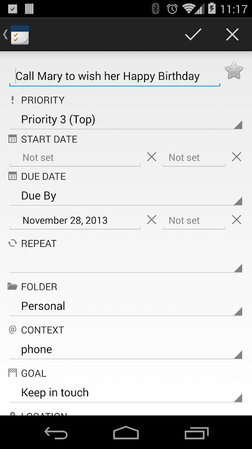 TodoToday for Toodledo - screenshot