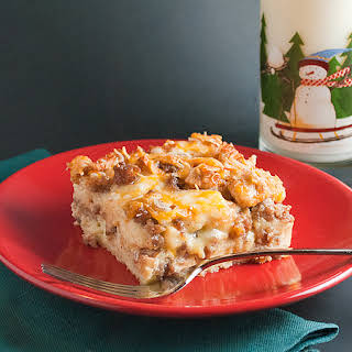 Sausage Apple Overnight Breakfast Casserole.