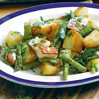 Hugh Fearnley-Whittingstall's asparagus, halloumi and new potatoes.
