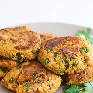 Sweet Potato and Chickpea Veggie Burger Patty.