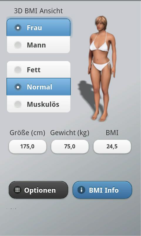3D BMI Calculator 2 Free - screenshot