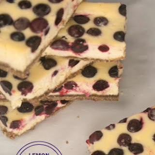 Lemon Blueberry Cheesecake Bars with a Gluten-free Graham Cracker Crust