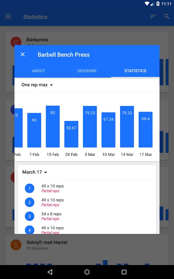 Progression - Fitness tracker - screenshot
