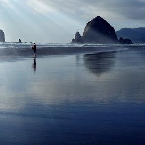 Canon Beach  by Jim Signorelli - Landscapes Beaches ( oregon, canon beach, dreamy, dream, dusk beach, sunset, tide, low tide, big rocks, sun rays, coast, rays, #GARYFONGDRAMATICLIGHT, #WTFBOBDAVIS,  )