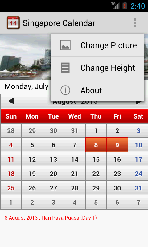 Singapore Calendar - screenshot