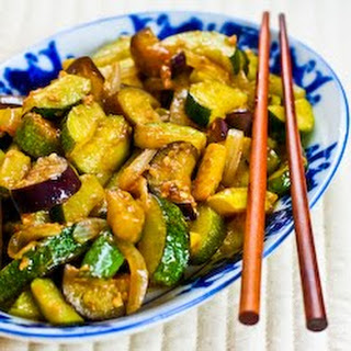 Garlic-Lover's Vegetable Stir Fry with Eggplant, Zucchini, and Yellow Squash.