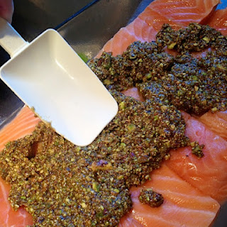 Pistachio Lime Baked Salmon {ReluctantEntertainer.com}