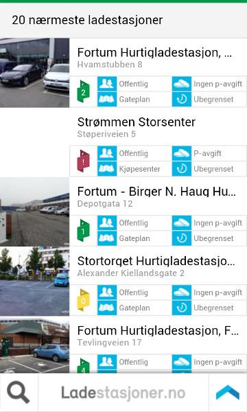 Ladestasjoner- screenshot