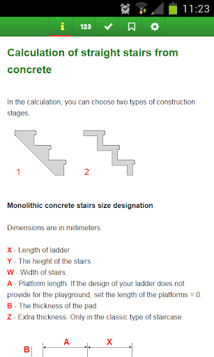 Calculation of concrete stairs