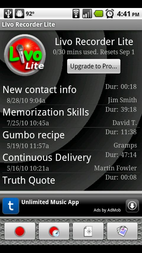 Livo Recorder Lite - screenshot