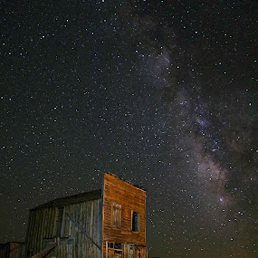 Milky Way Over Bodie Ghost Town, California by Beau Rogers - Buildings & Architecture Decaying & Abandoned ( california, nighttime, ghost town, bodie, night, old west, milky way )