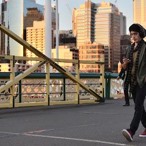 At the Bridge by Leonardus Cung - People Street & Candids ( walking, sunset, snapshoot, bridge, people )