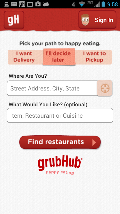 GrubHub Food Delivery/Takeout - screenshot