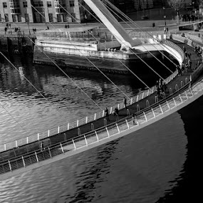 The Commute by Liam Robson - Black & White Buildings & Architecture ( abstract, black and white, commute, bridge, landscape, mono )
