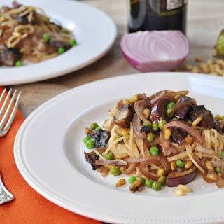 Smoky Pasta with Japanese Eggplant and Portobello Mushrooms.