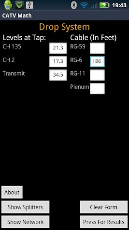 CATV Cable Math Screenshot