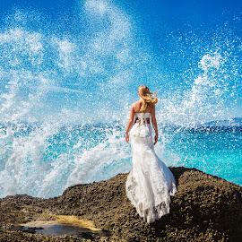 Calm & Storm by Alexander Hadji - Wedding Other ( calm, wedding, greece, wave, bride, storm )