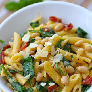 Creamy Pasta with White Beans and Spinach.