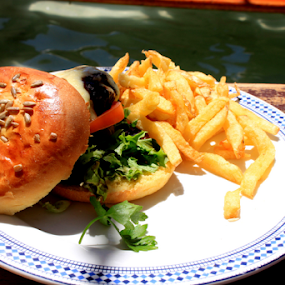 Burger & Chips by Leanne Oosthuizen - Food & Drink Plated Food ( burger, chips, moyo, food, plate )