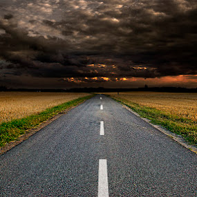 Lonely Road & Angry Dark Sky by Awais Khalid - Landscapes Prairies, Meadows & Fields ( clouds, sky, dark, road, fields,  )