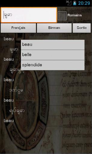 French Burmese Dictionary