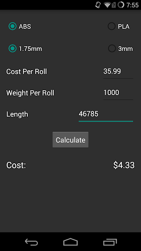 3D Printing Cost Calculator