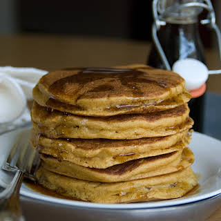 Mango Pancakes with Ginger-Maple Syrup.