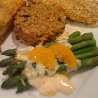 Asparagus with Orange-Cream Sauce and Cashews.