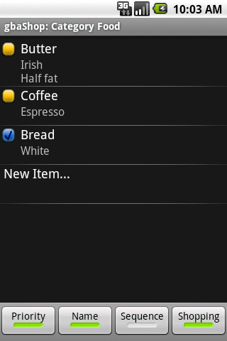 gbaShop Shopping List- screenshot