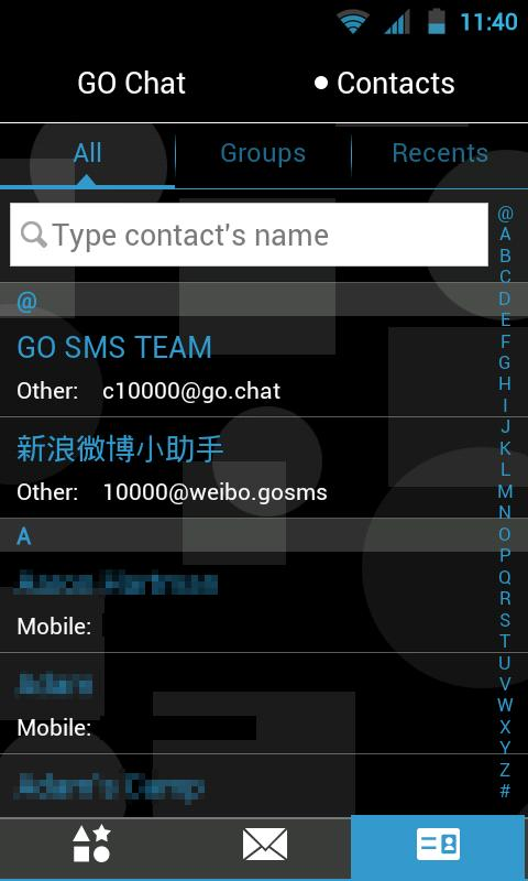 GO SMS THEME - Red Blue Shapes- screenshot