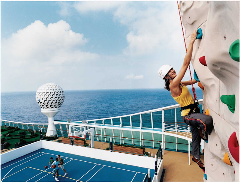 Freedom of the Seas' sports deck hosts rock wall climbing, outdoor courts, miniature golf and plenty of other activities.